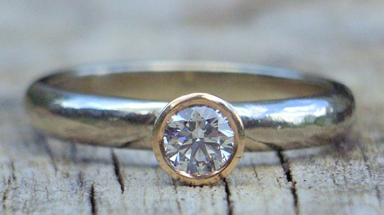 Recycled diamond and silver ring by Glasswing Jewellery