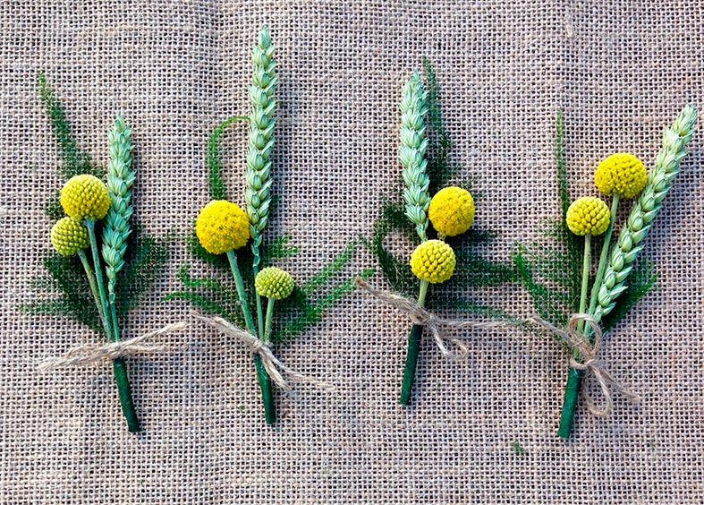 Natural wheat ear buttonholes from Green Wedding Boutique