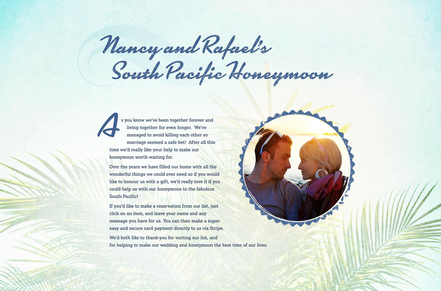 Buy Our Honeymoon | Customisable Wedding Gift Websites | Honeymoon Registry | GREEN UNION | UK