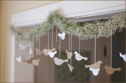 DIY Wedding Decorations bird and flower garland
