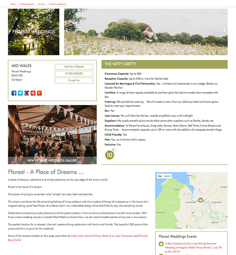 Example of your dedicated page on Green Union Wedding Directory - click to view