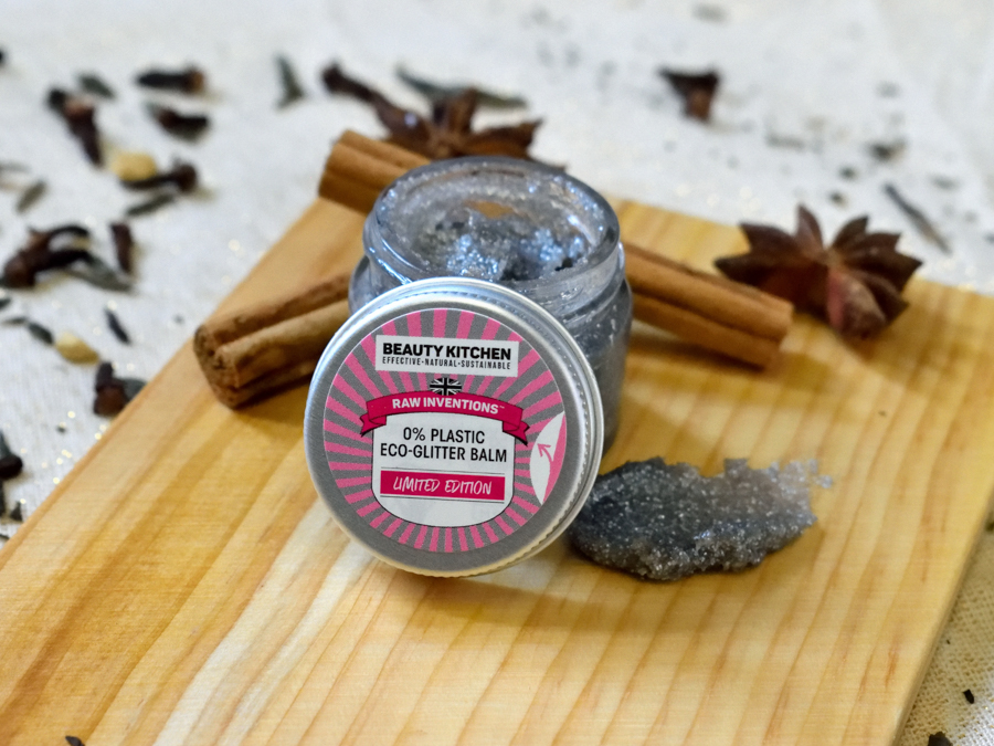 Beauty Kitchen's Raw Inventions Eco Glitter Balm for sustainable festive glamour