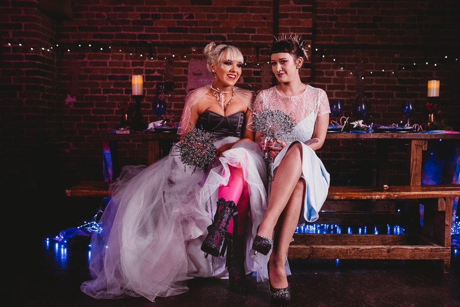 Industrial Galaxy themed wedding dress and shoes inspiration