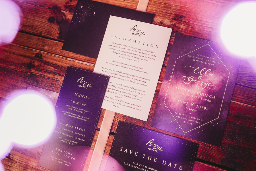 Industrial Galaxy themed wedding invitations and stationery  inspiration