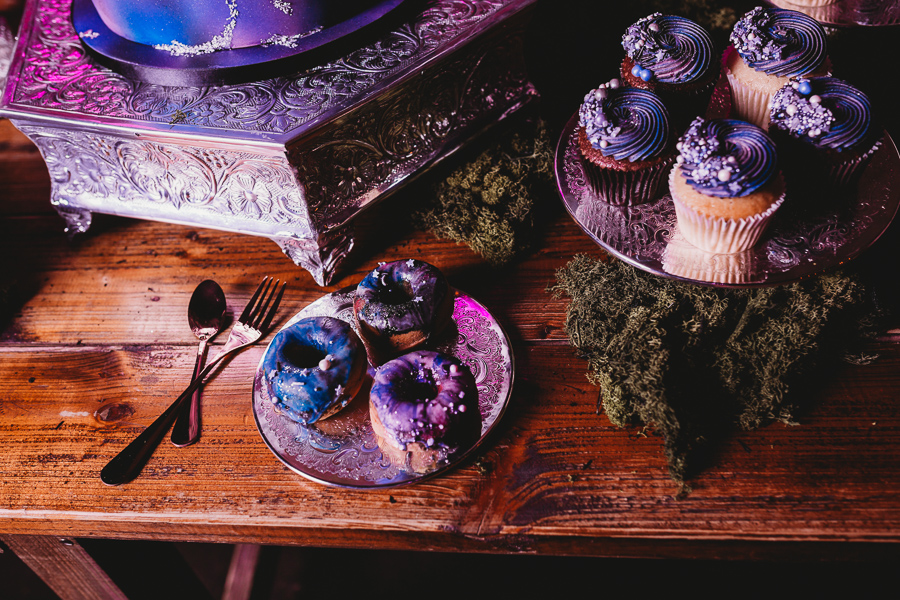 Industrial Galaxy themed wedding doughnut and cupcake inspiration