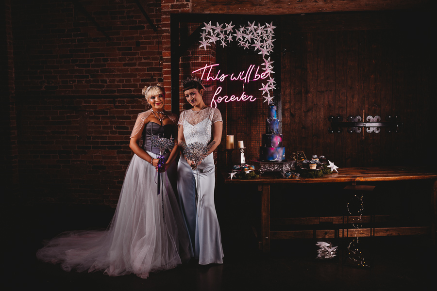 Industrial Galaxy themed wedding inspiration