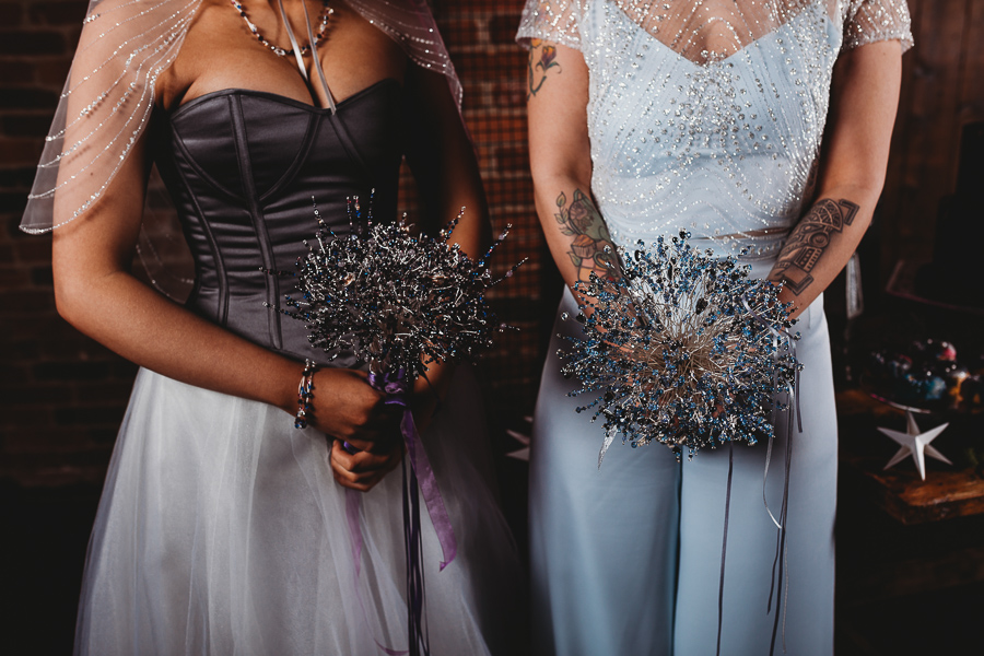 Industrial Galaxy themed wedding inspiration with Swarovski crystal bouquets and accessories by CRZyBest