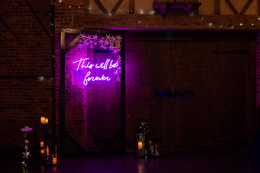 Industrial Galaxy themed wedding inspiration with neon signage