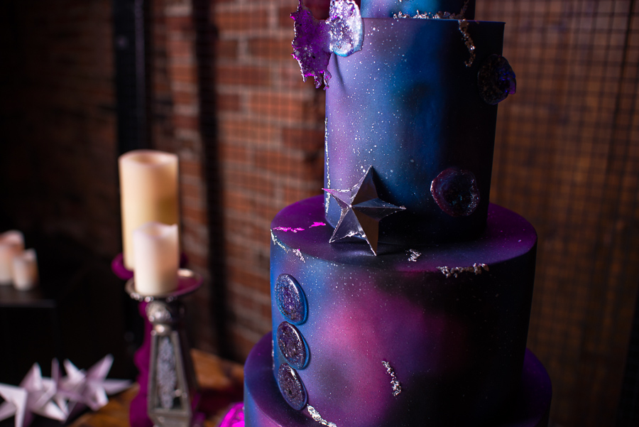 Industrial Galaxy themed wedding cake inspiration
