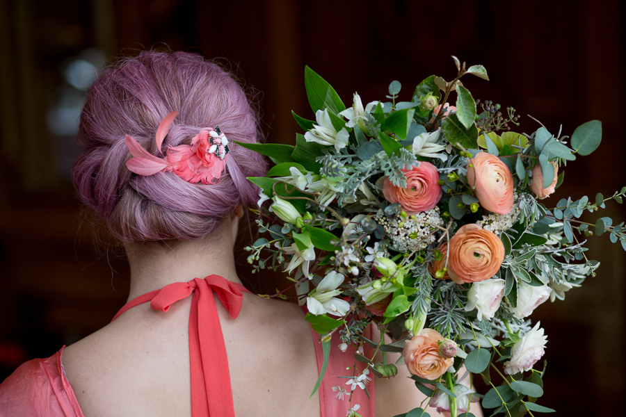 Living Coral wedding inspiration, captured by Martin Dabek, featuring Linda Thomas Eco Design and Honeystone Hair