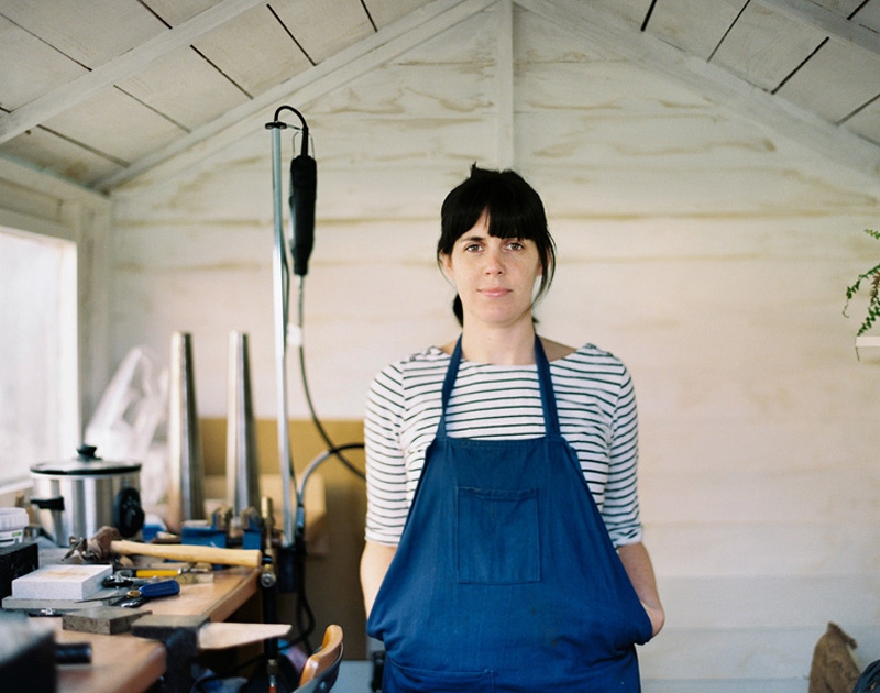 Sarah of Audrey Claude Jewellery in her workshop