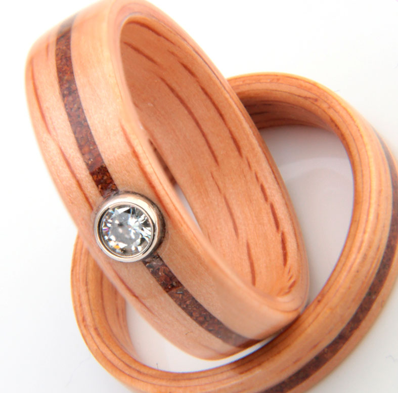 Bowfell stones and Oak rings by Eco Wood Rings