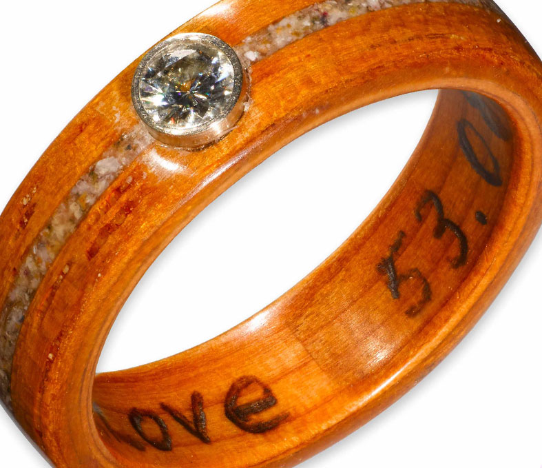 Opepi Teak Ring with Yew Liner, Sand and Shell Inlay and Bezelled Moissanite