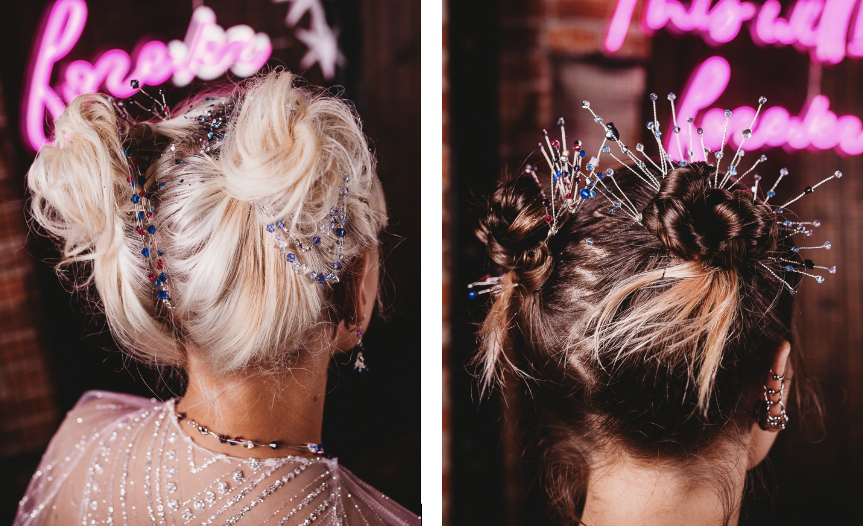 Industrial Galaxy themed wedding inspiration with alternative hair styling and accessories