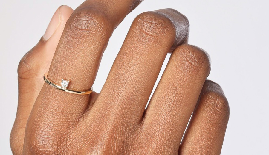 AUrate's recycled gold rings include ethically sourced conflict-free diamonds