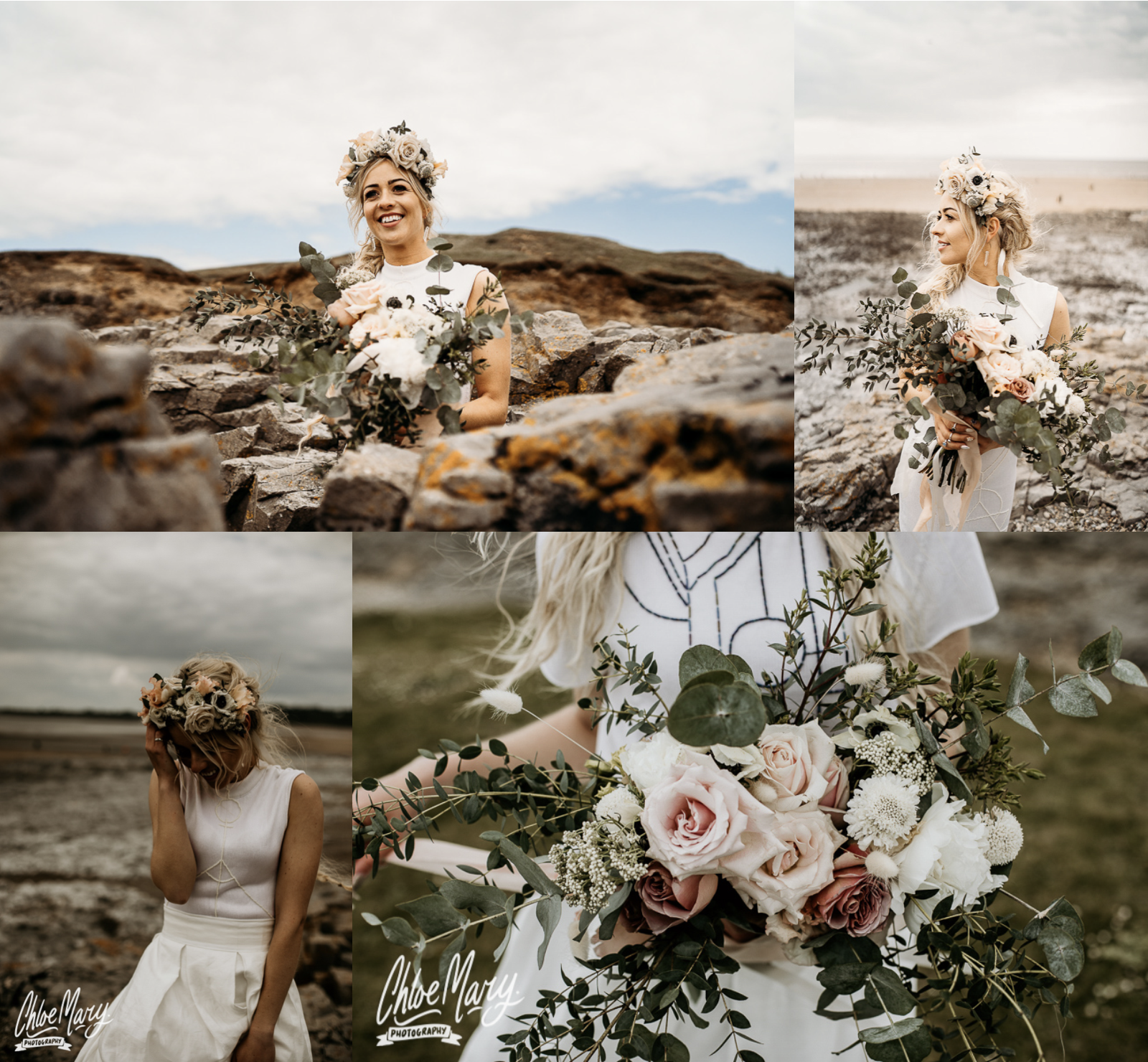 Ogmore Beach Elopement by Leesha Williams Photography and Chloe Mary Photography with Flourish and Grace Flowers