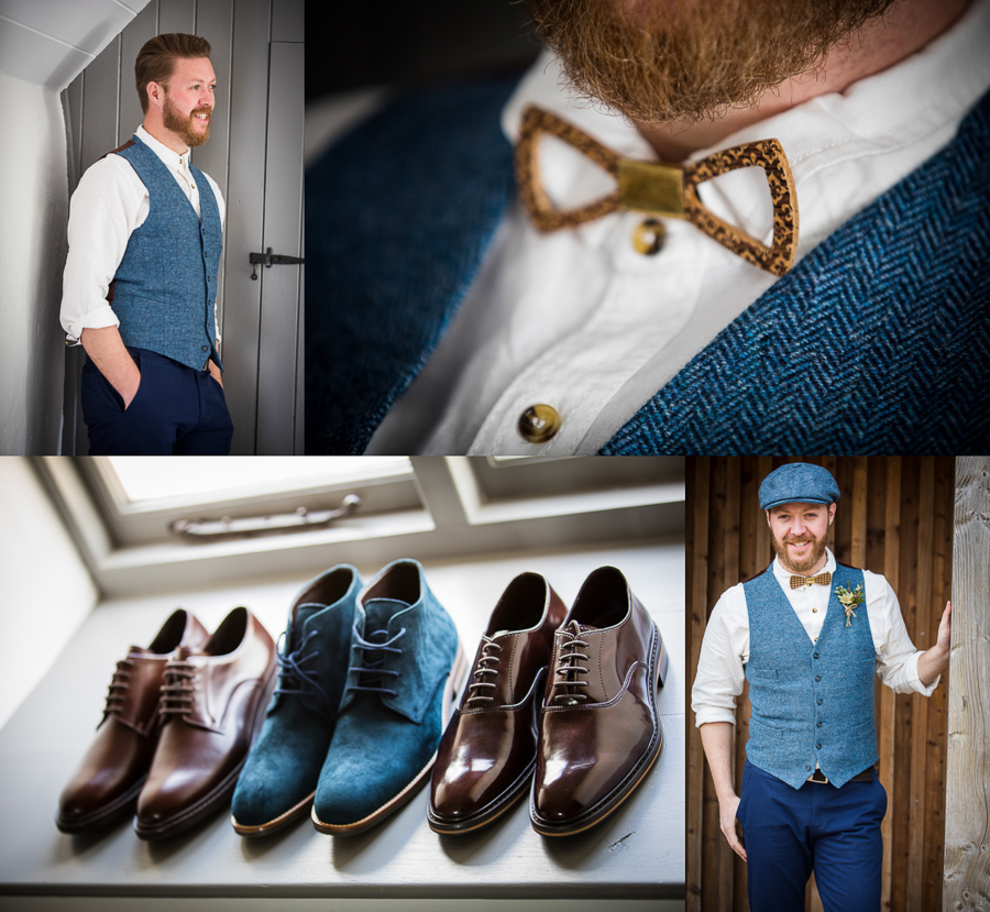 Eco friendly groom attire at River Cottage