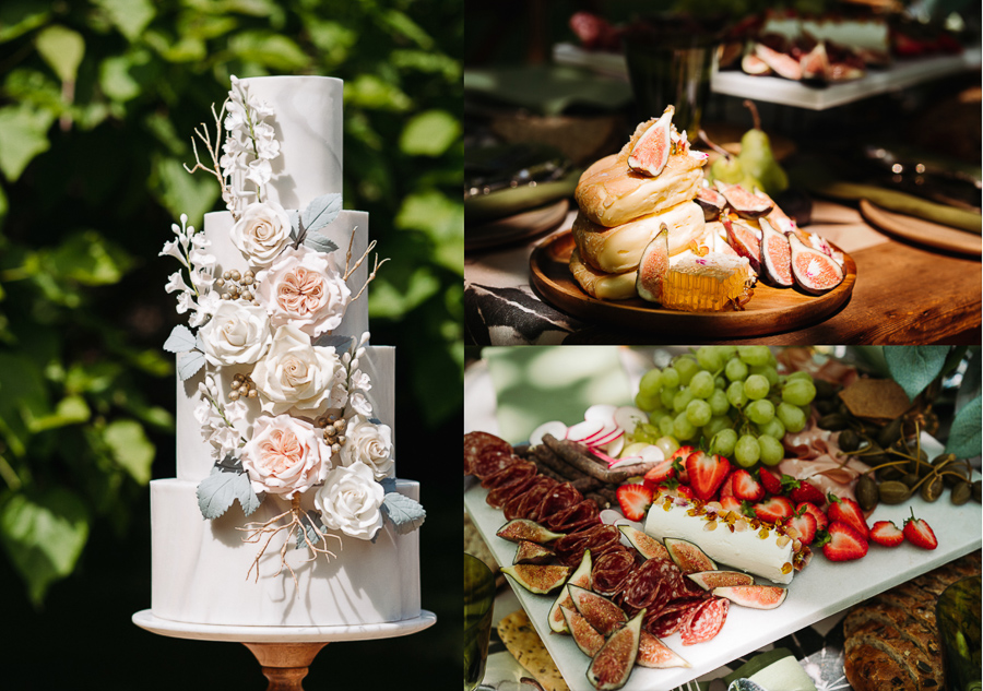 Wedding cake and grazing station at The Little Dower House, captured by Alexis Jaworski