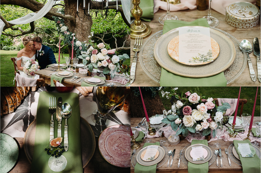 Wedding reception table inspiration at The Little Dower House, captured by Alexis Jaworski
