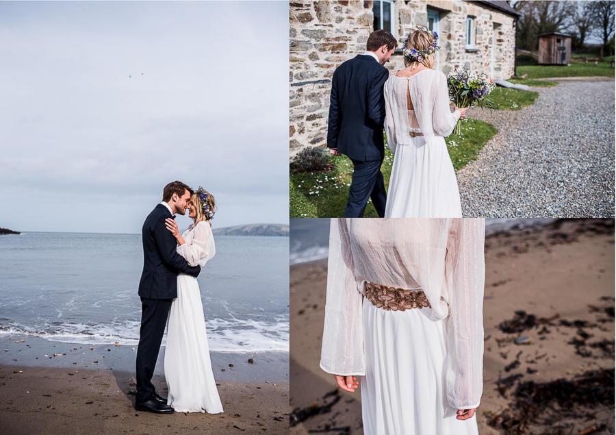 An Eco Friendly Elopement at Nantwen in Pembrokeshire, Captured by O&C Photography - wedding dress separates by BHLDN