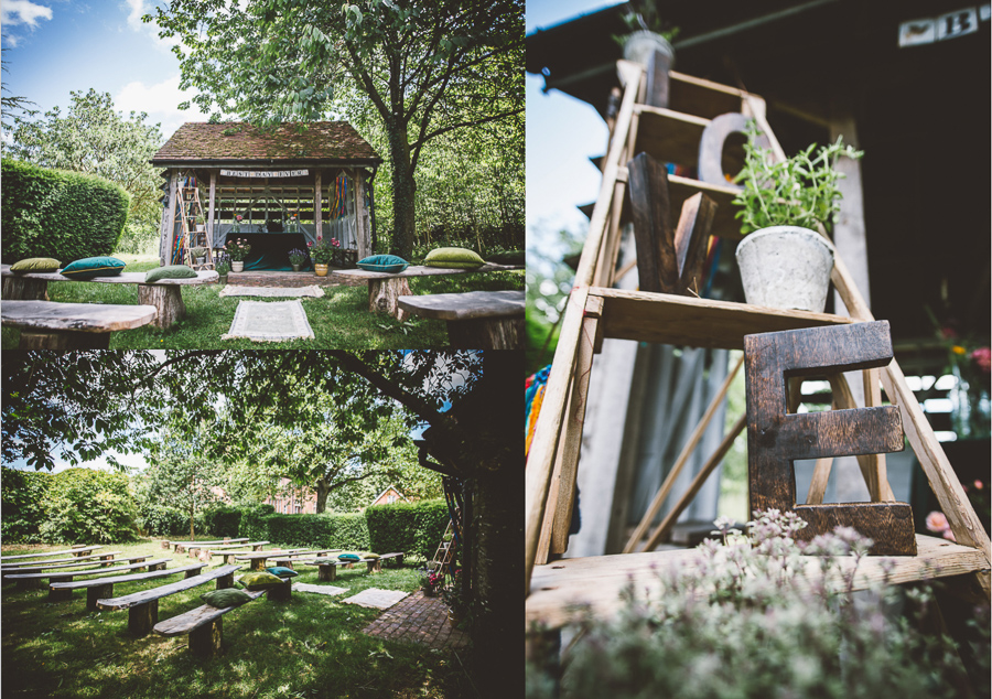 An Eco Friendly and Ethical Wedding at Bore Place, Kent, Captured by OneLove Pictures. The outdoor ceremony space.