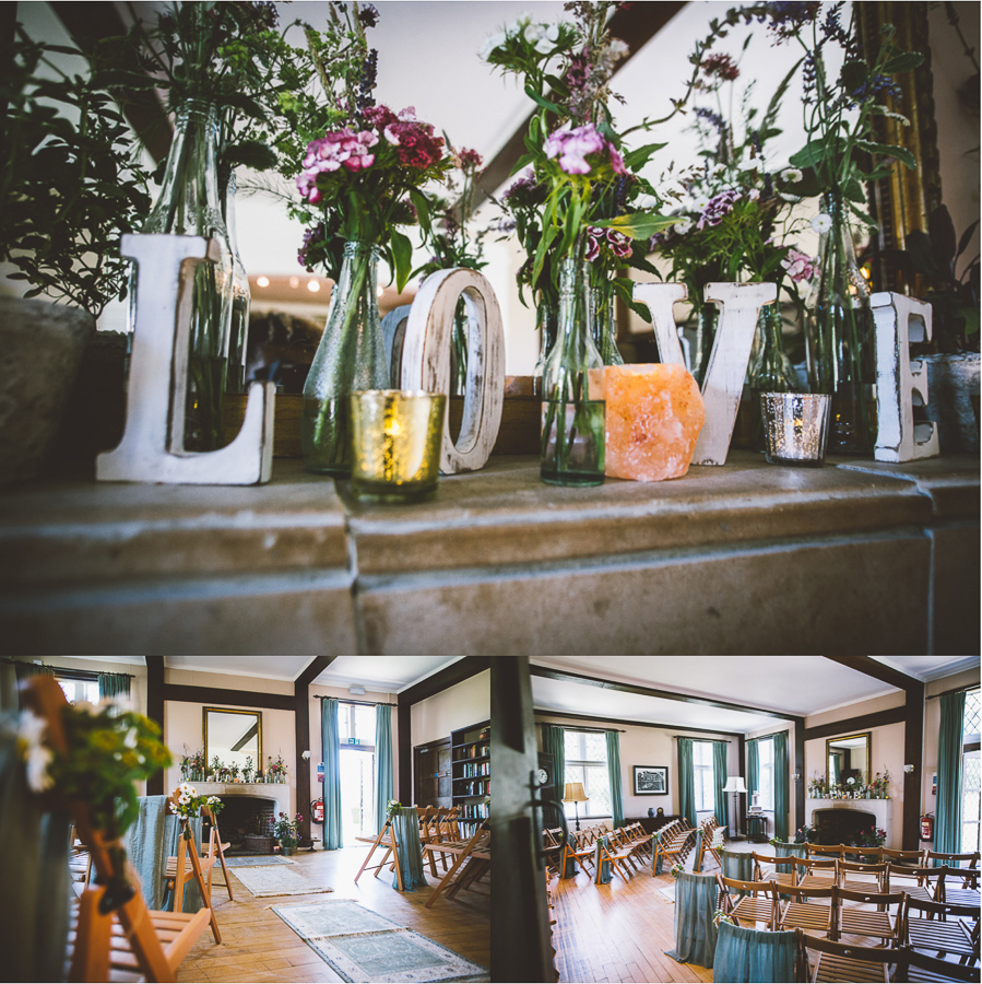 An Eco Friendly and Ethical Wedding at Bore Place, Kent, Captured by OneLove Pictures. The indoor ceremony space.