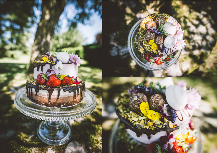 An Eco Friendly and Ethical Wedding at Bore Place, Kent, Captured by OneLove Pictures. Vegan raw wedding cake.