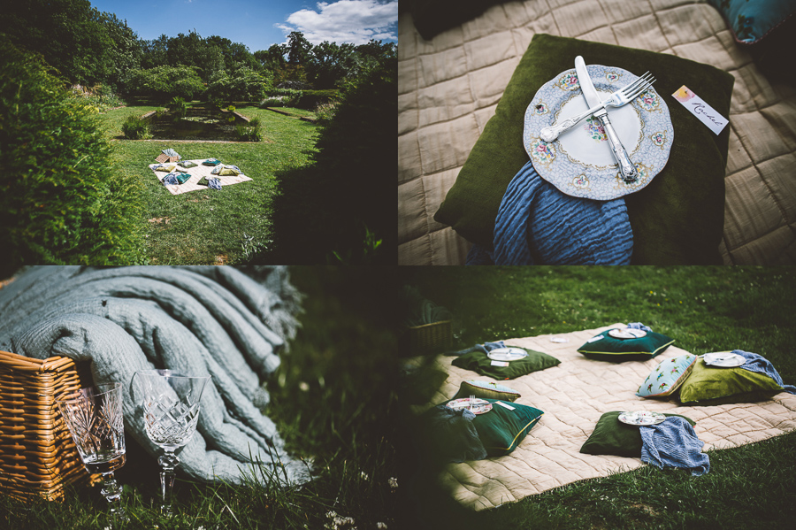 An Eco Friendly and Ethical Wedding at Bore Place, Kent, Captured by OneLove Pictures. A picnic wedding reception.