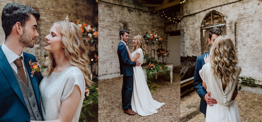 An Autumnal Rustic Luxe Woodland Marriage, Captured by Brigitte & Thierry Photography, with Boho Bridalwear by Lisa Lyons