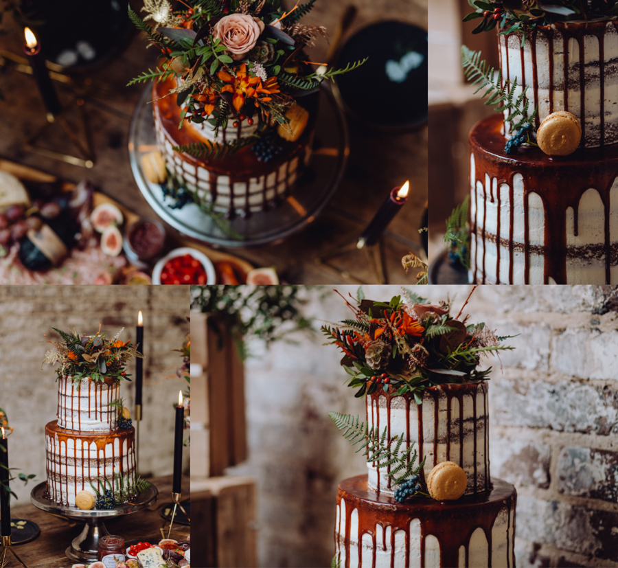 An Autumnal Rustic Luxe Woodland Marriage, Captured by Brigitte & Thierry Photography, with a Rustic Wedding Cake by The Garden Chef