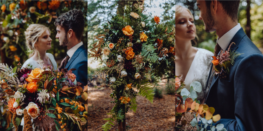 An Autumnal Rustic Luxe Woodland Marriage, Captured by Brigitte & Thierry Photography, with Flowers by Garden to Garland