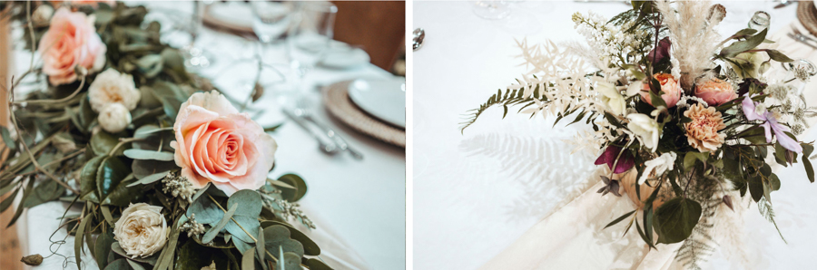 INSPIRATION - Eco-Friendly Bohemian Wedding Ideas at The White Horse Inn, Derbyshire, Captured by Tess Viera Photography - table flowers