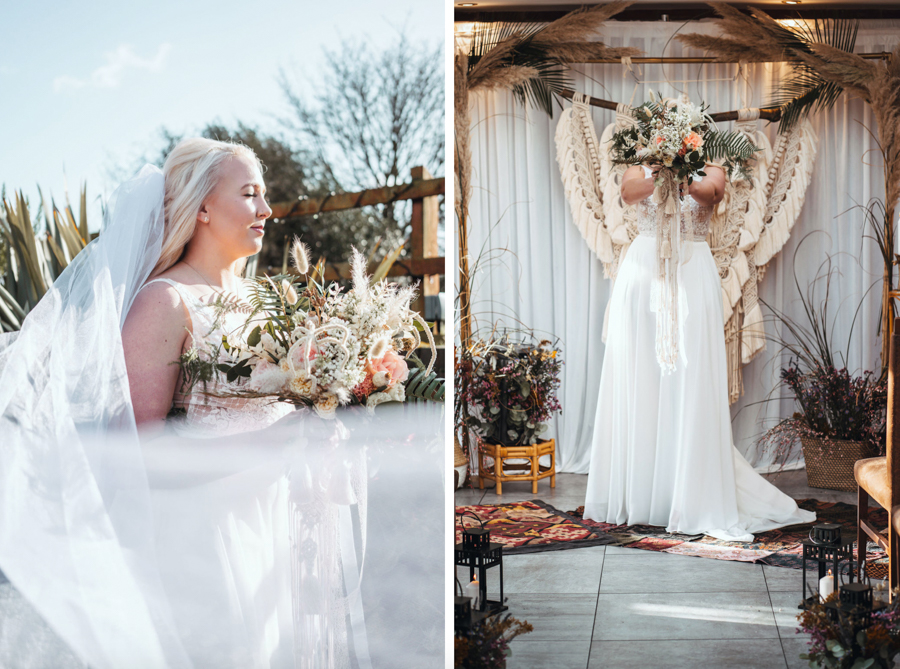 INSPIRATION - Eco-Friendly Bohemian Wedding Ideas at The White Horse Inn, Derbyshire, Captured by Tess Viera Photography - veil and dress