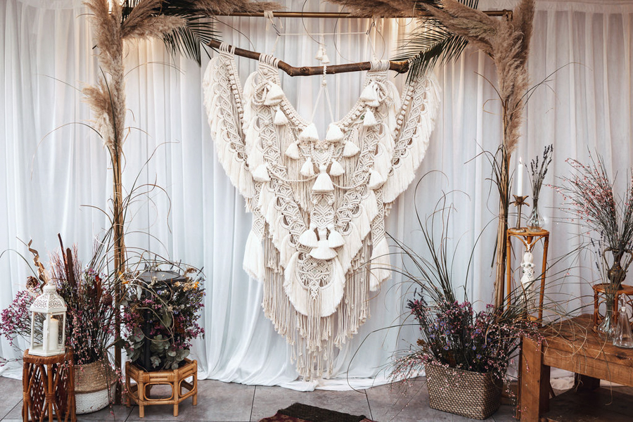 INSPIRATION - Eco-Friendly Bohemian Wedding Ideas at The White Horse Inn, Derbyshire, Captured by Tess Viera Photography - macrame backdrop