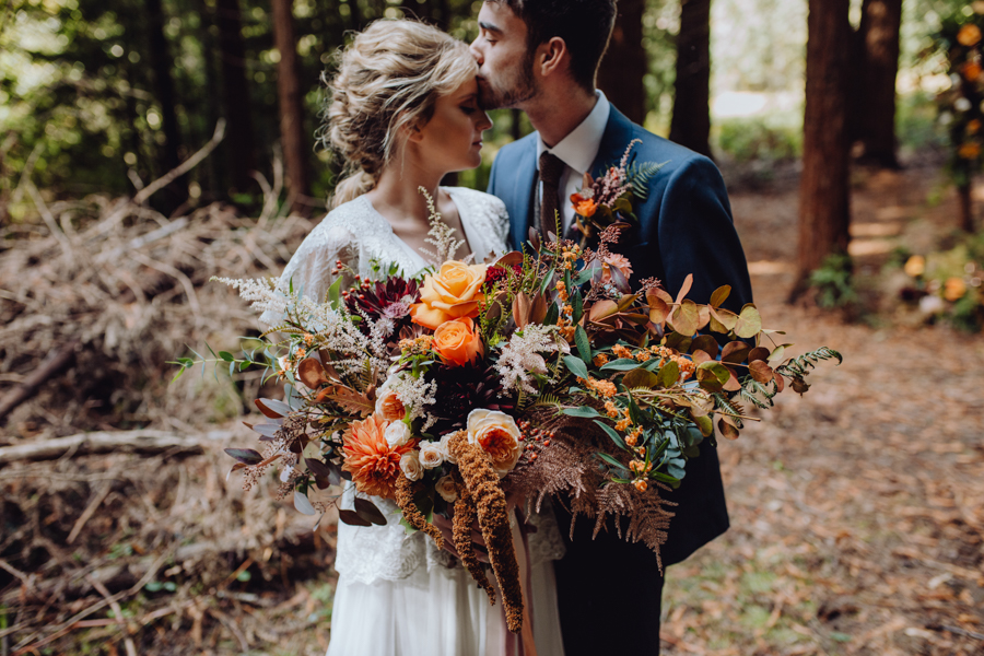 An Autumnal Rustic Luxe Woodland Marriage, Captured by Brigitte & Thierry Photography at Patrick's Barn, Chiddinglye Farm